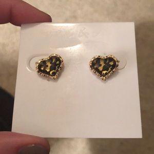 Betsey Johnson Cheetah Heart Earrings